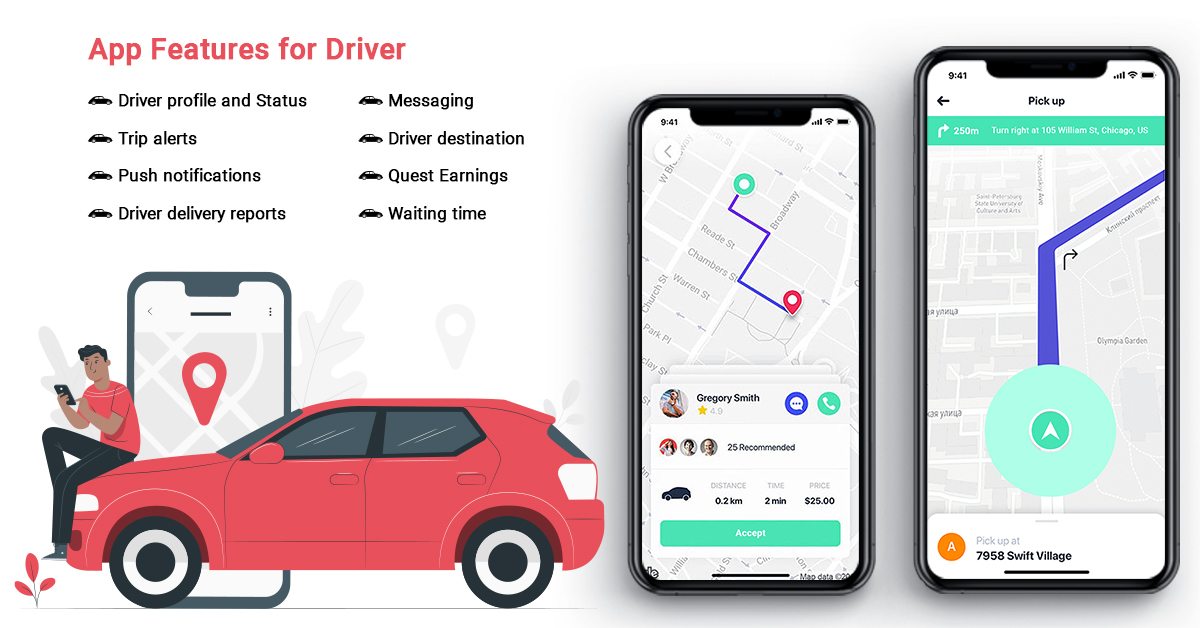 uber-like app features for driver